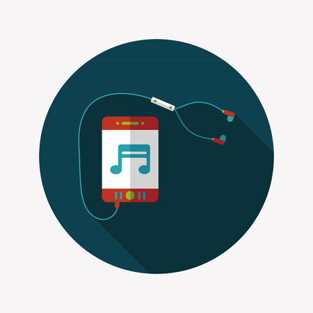 smartphone and headset flat icon with long shadow,eps10 Vector