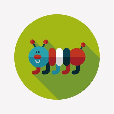 creep: Caterpillar flat icon with long shadow,eps10 Illustration