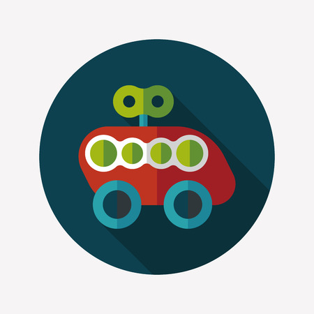toy car flat icon with long shadow Vector