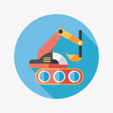 Excavator digger flat icon with long shadow,eps 10 Vector