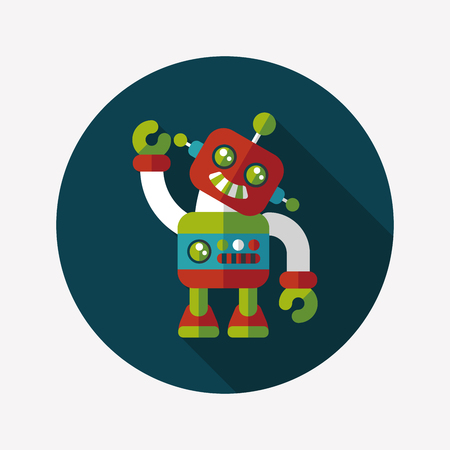 vintage robot flat icon with long shadow,eps 10 Vector
