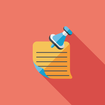 note paper: note paper flat icon with long shadow Illustration