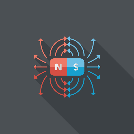 repulsive: magnetic fields flat icon with long shadow Illustration