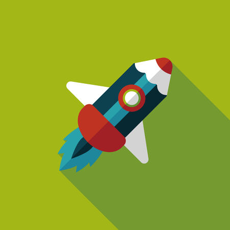 pencil rocket flat icon with long shadow