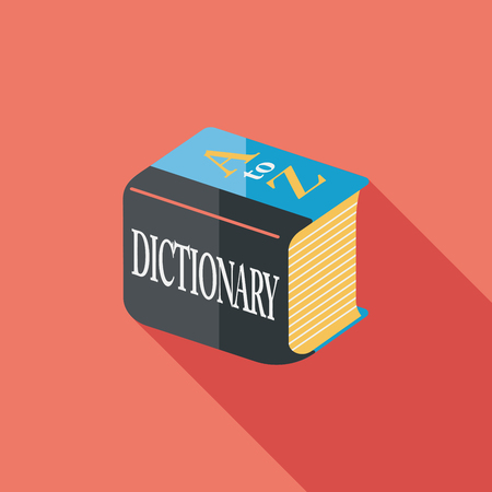 Dictionary flat icon with long shadow Vector