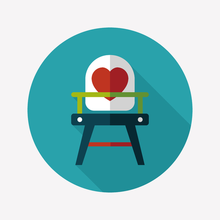 high chair: baby high chair flat icon with long shadow