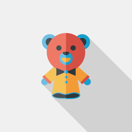 bear hand puppet flat icon with long shadow Vector