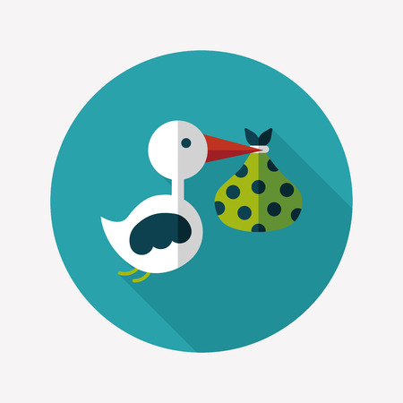 newborn baby girl: bird and baby flat icon with long shadow,eps10 Illustration