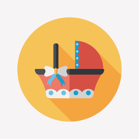 babysitting: baby cradle bed flat icon with long shadow Illustration