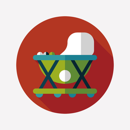 Baby walker flat icon with long shadow