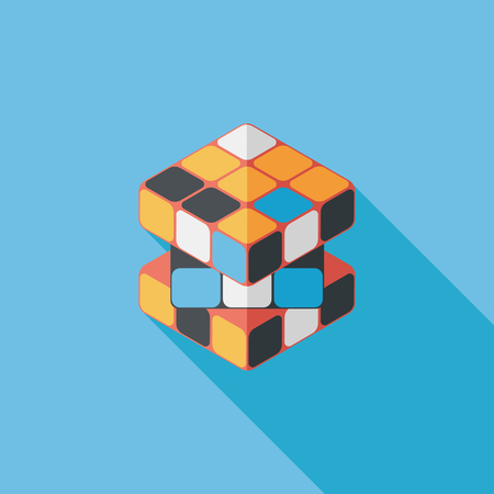 teaser: toy cube flat icon with long shadow