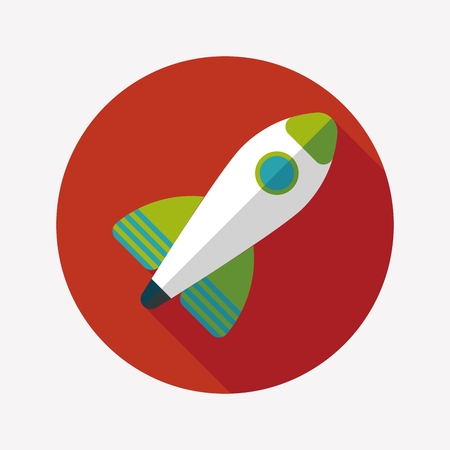 Rocket flat icon with long shadow Vector