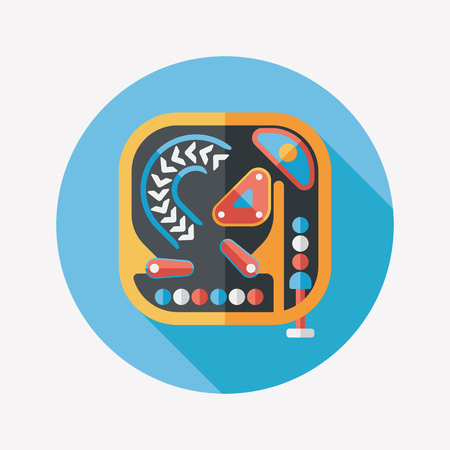nudging: Pinball flat icon with long shadow