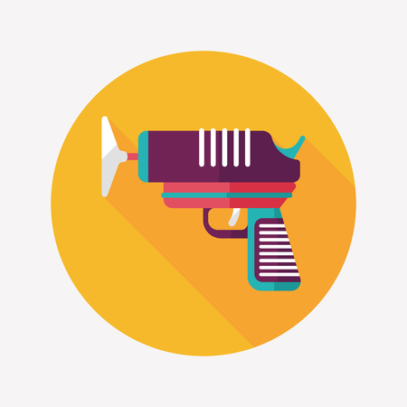 weaponry: toy gun flat icon with long shadow Illustration