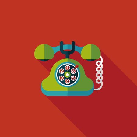 Retro telephone flat icon with long shadow Vector