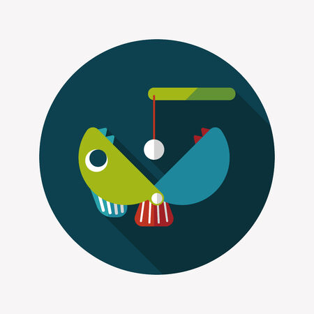 Fishing toy flat icon with long shadow Vector