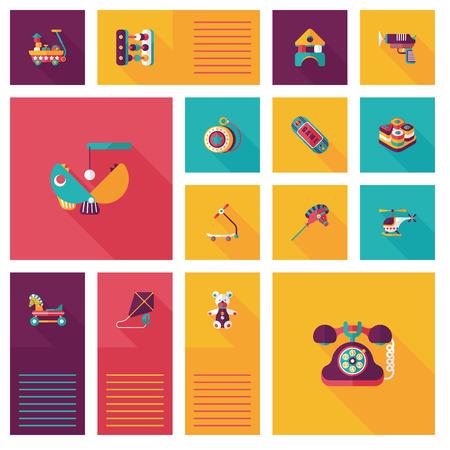 yoyo: kid toys flat ui background Illustration