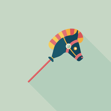 toy horse flat icon with long shadow Vector