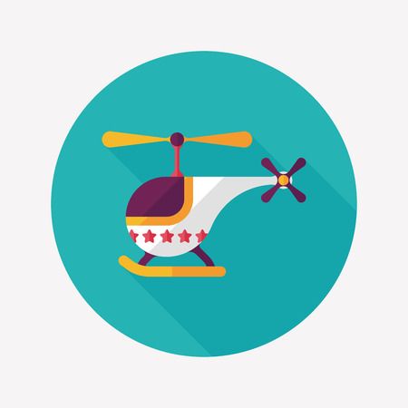 helicopter flat icon with long shadow Vector