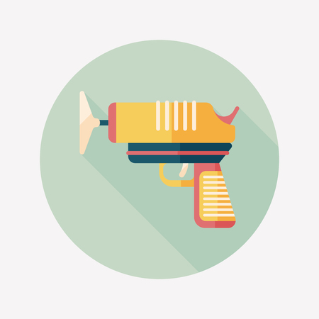 automaton: toy gun flat icon with long shadow Illustration