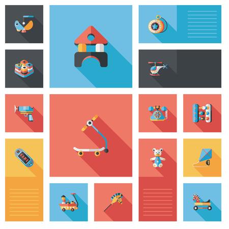 play yoyo: kid toys flat ui background Illustration