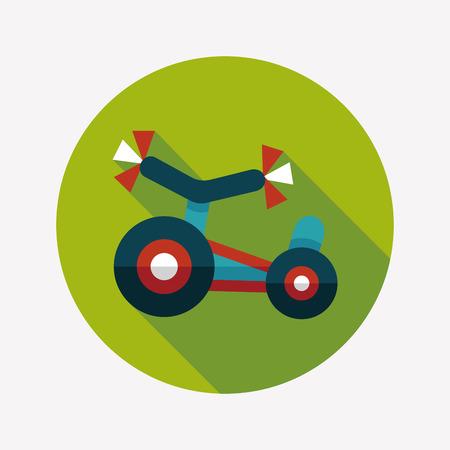 driewieler: Kinderen Driewieler vlakke icoon met lange schaduw Stock Illustratie
