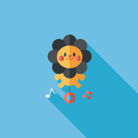 lion toy flat icon with long shadow Vector