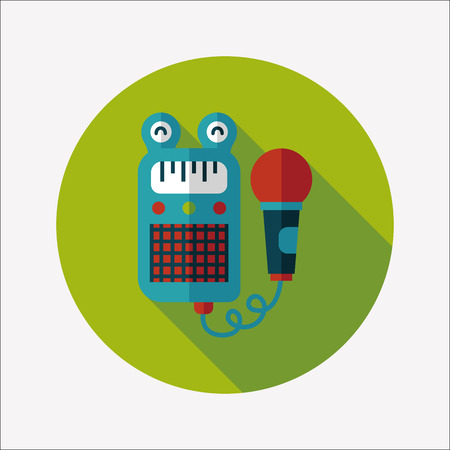 toy microphone flat icon with long shadow Vector