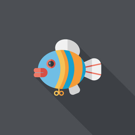 fish toy flat icon with long shadow Vector