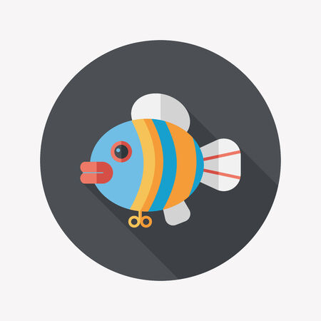 spinner: fish toy flat icon with long shadow Illustration
