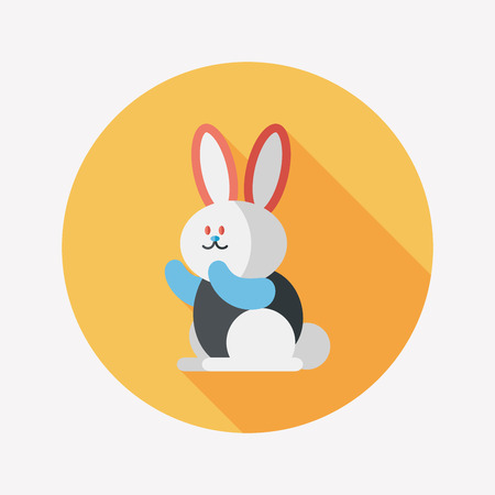 tame: Rabbit flat icon with long shadow