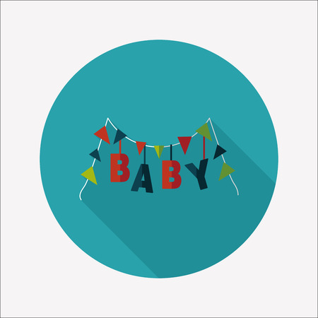 BABY party flat icon with long shadow Vector