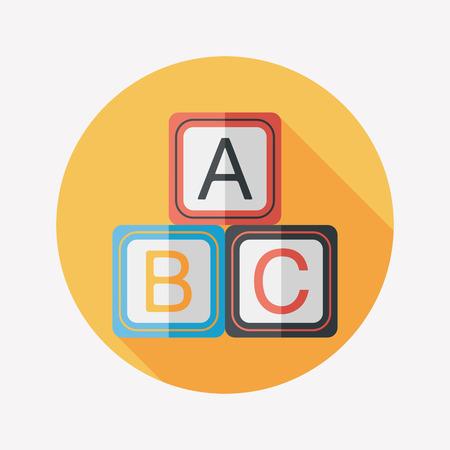 abc blocks: ABC blocks flat icon with long shadow