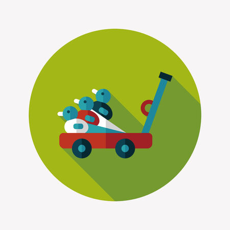 isolation: toy duck cart flat icon with long shadow Illustration