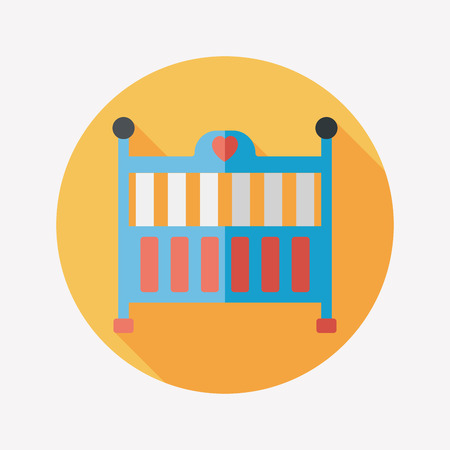 baby cradle bed flat icon with long shadow,eps10 Vector