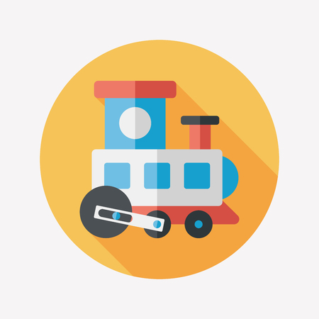 Train toy flat icon with long shadow Vector