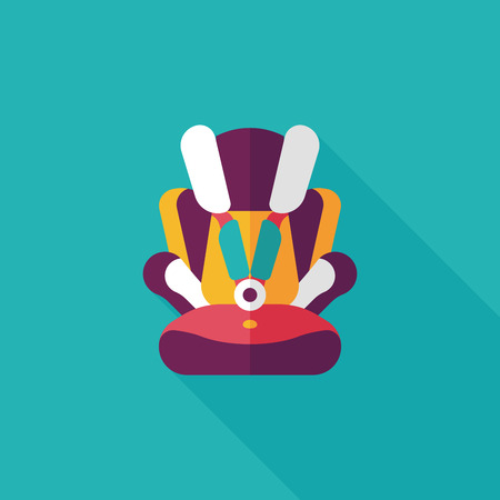 Baby car seat flat icon with long shadow,eps10 Vector