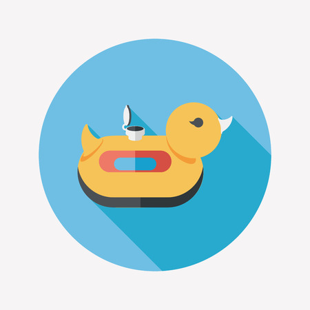 duck  Swim ring flat icon with long shadow,eps10 Vector