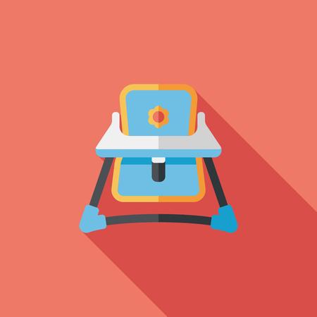 high chair: icono plano silla alta de beb� con una larga sombra, eps10 Vectores