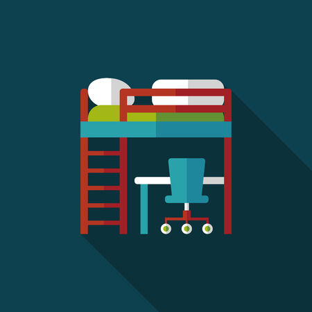 bed and desk flat icon with long shadow Vector