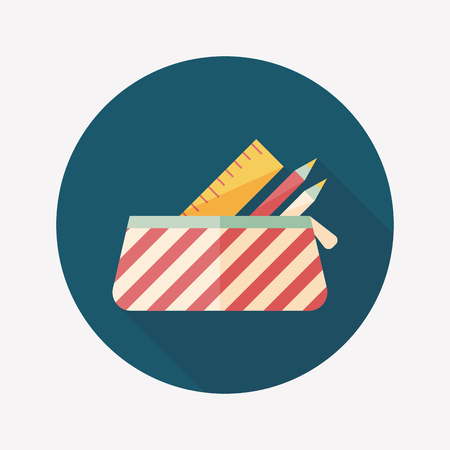 pencil box flat icon with long shadow,eps10 Illustration
