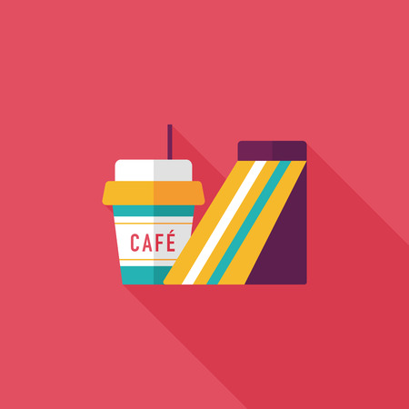 french toast: sandwich and coffee flat icon with long shadow,eps10