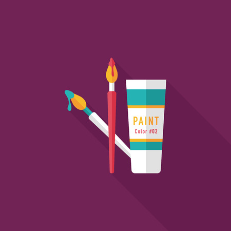 brush and color tube flat icon with long shadow,eps10 Vector