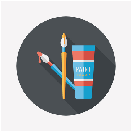 paint brush: brush and color tube flat icon with long shadow,eps10