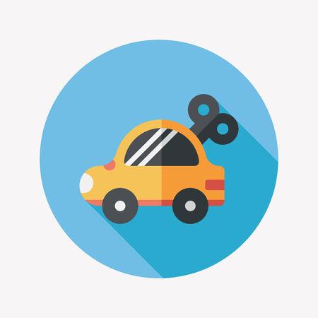 Spielzeugauto Flach Symbol mit langen Schatten