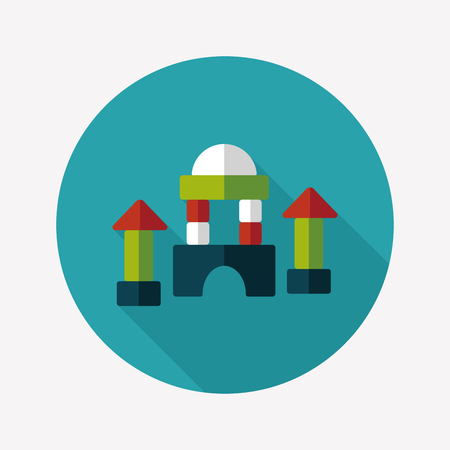brick house flat icon with long shadow Vector