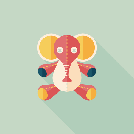 elephant doll flat icon with long shadow,eps10 Vector