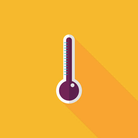 the instrument of measurement: thermometer flat icon with long shadow