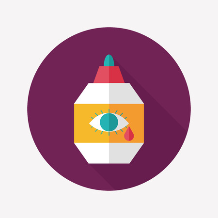 Eye Drop flat icon with long shadow Illustration