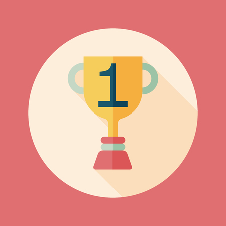 Trophy Cup flat icon with long shadow,eps10 Vector